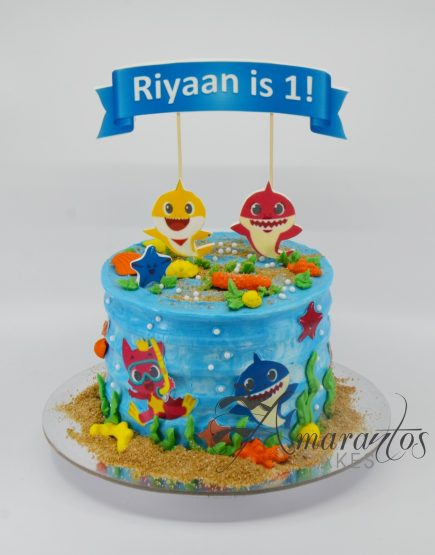Small Baby Shark Cake - Amarantos Cakes