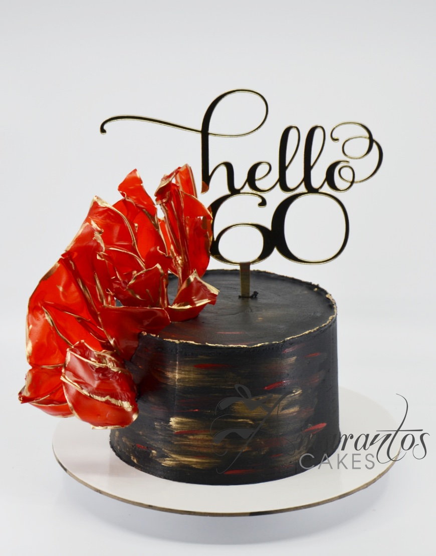 Black and Red Birthday Cake - Amarantos Cakes - AA47