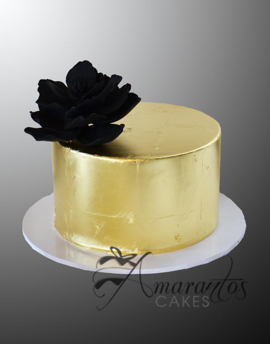 AC104 gold foil with black flower WM Amarantos Cakes
