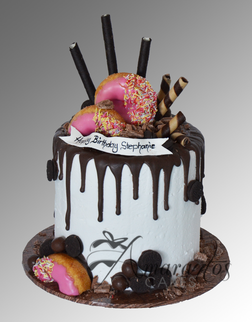 AC131 drip buttercream with donuts WM Amarantos Cakes
