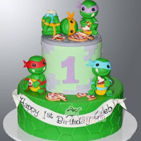 Two tier cake with TMNT- AC143
