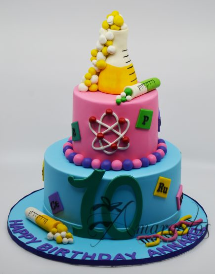 AC155 Two tier science themed cake