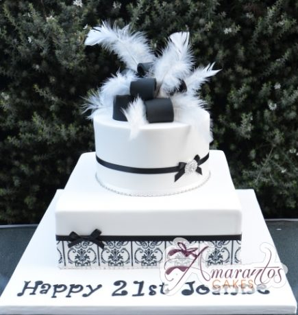 Two Tier Ribbon and Feather Cake - Amarantos Designer Cakes Melbourne