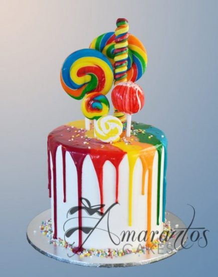 Two tier rainbow drizzle cake AC160