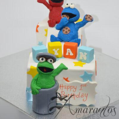 Number One with Sesame Street Cake - Amarantos Custom Made Cakes Melbourne