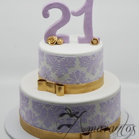 Two Tier Damask Cake – AC165