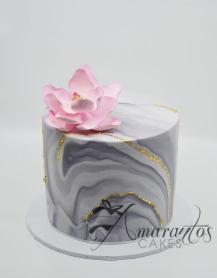 Two tier marbled barrel cake