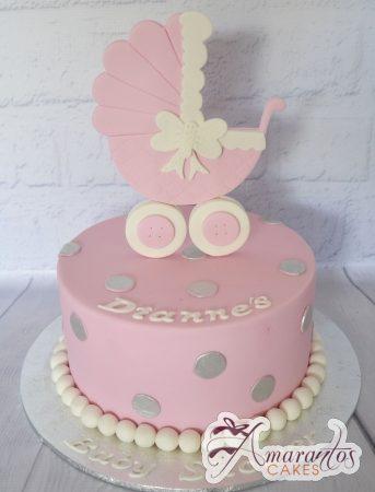 Round cake with Pram – AC174