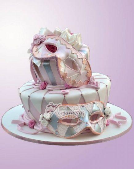 Two Tier Masquerade Design Cake - Amarantos Designer Cakes Melbourne