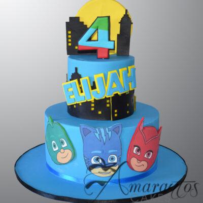Two tier PJ Masks cake - AC18 - Amarantos Cakes