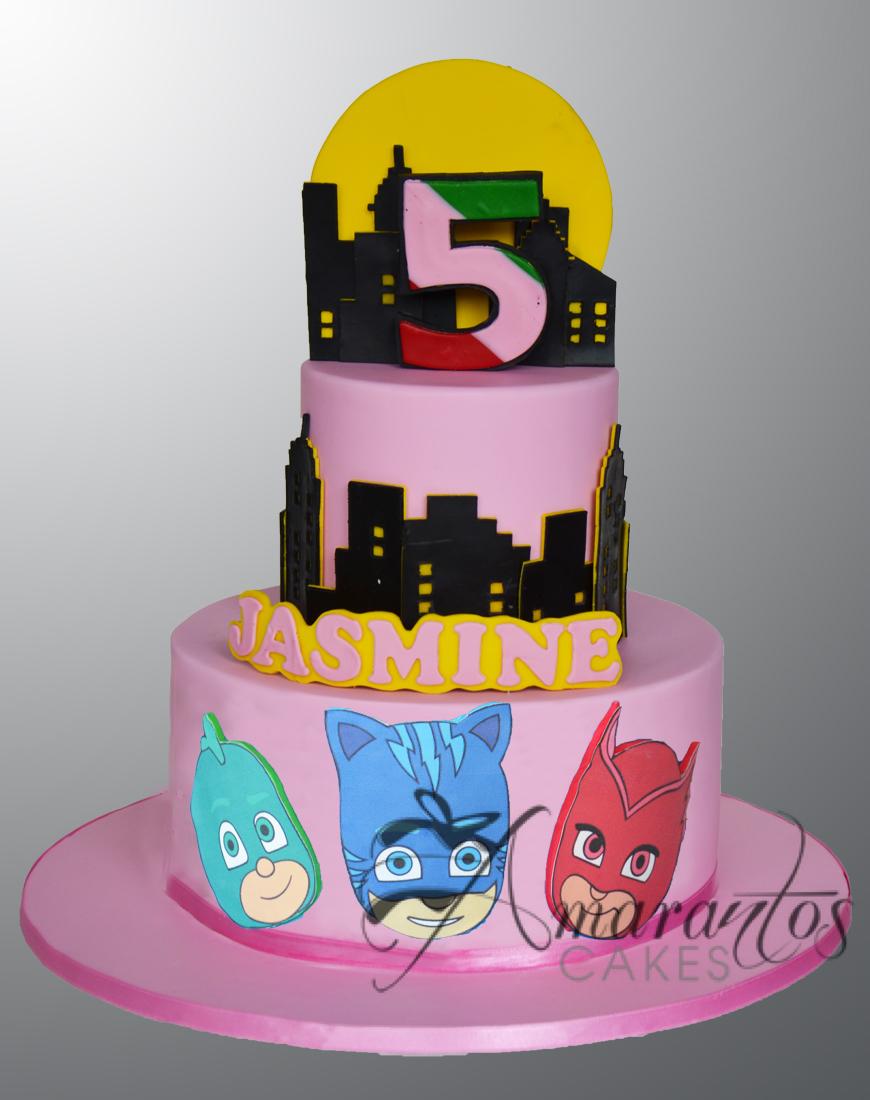 Two tier PJ Masks cake - AC18A - Amarantos Cakes