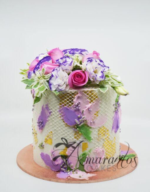 AC191 buttercream with lace WM Amarantos Cakes