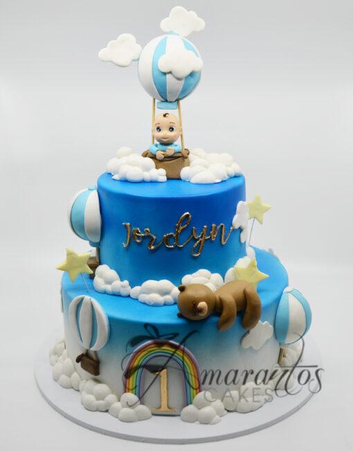AC195 2 tier with hot airballoon teddies WM 1 Amarantos Cakes