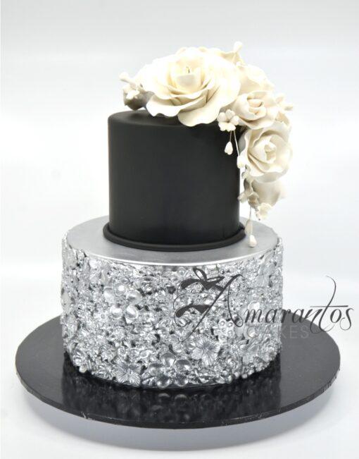 Two tier Black and Silver Cake - AC200 - Amarantos Cakes