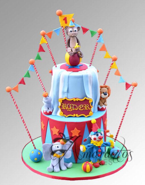 AC221 4 tier circus WM 1 Amarantos Cakes