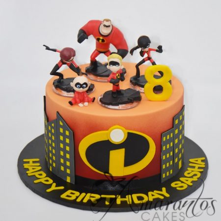 Single tier Incredibles cake – AC224