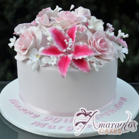 Round with Sugared Flowers Cake - Amarantos Designer Cakes Melbourne