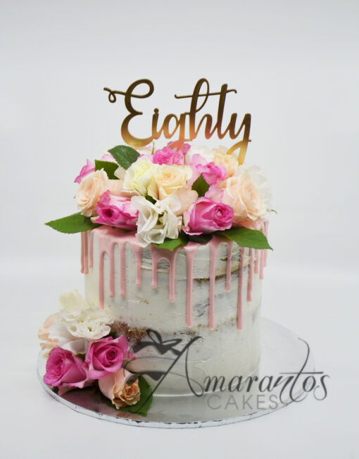 AC284 drip buttercream with flowers WM Amarantos Cakes