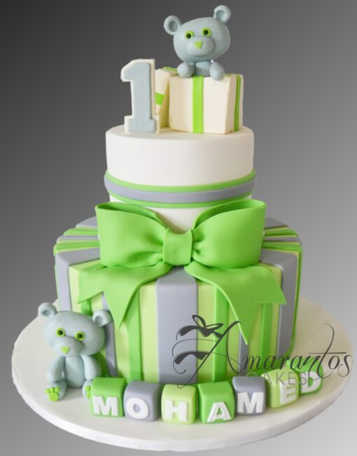 AC289A 1st birthday teddies WM Amarantos Cakes
