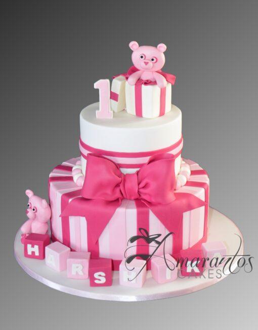 AC289B 1st birthday teddies WM Amarantos Cakes
