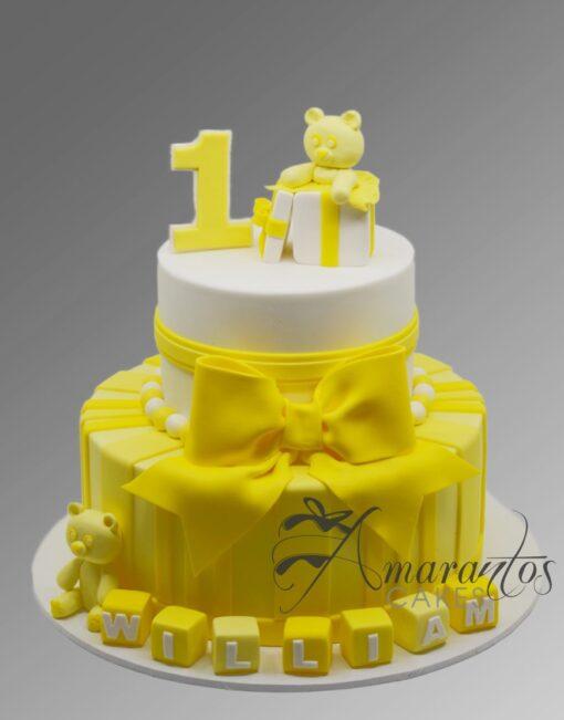 AC289C 1st birthday teddies WM Amarantos Cakes