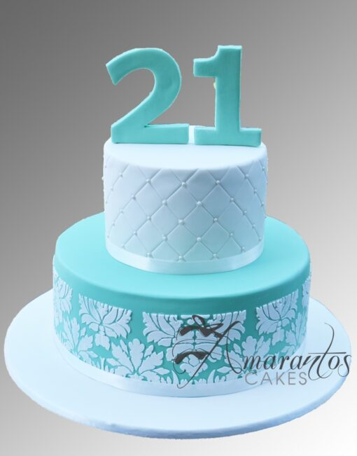 AC305 2 tier damask WM Amarantos Cakes