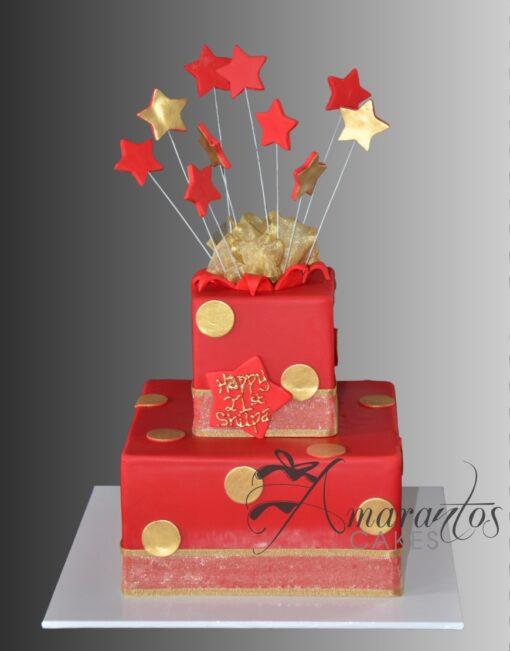 AC312 two tier exploding stars WM Amarantos Cakes