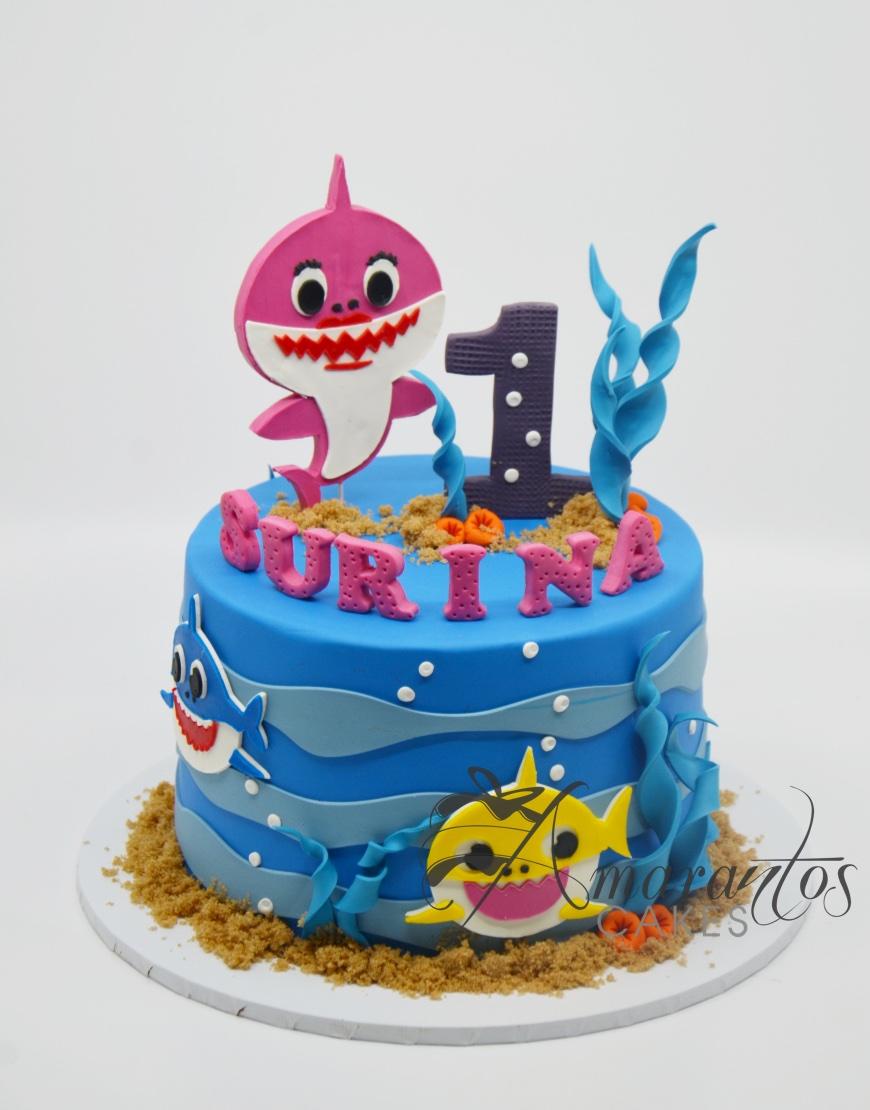 Single tier baby shark cake - AC337 - Amarantos Cakes