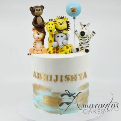 Two tier Cute Jungle Theme Cake - AC352