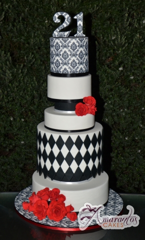 Seven Tier 21st Birthday Cake - Amarantos Cakes Melbourne