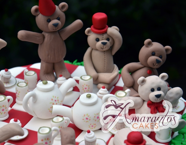 Teddy Bears Tea Party Birthday Cake - Amarantos Cakes Melbourne