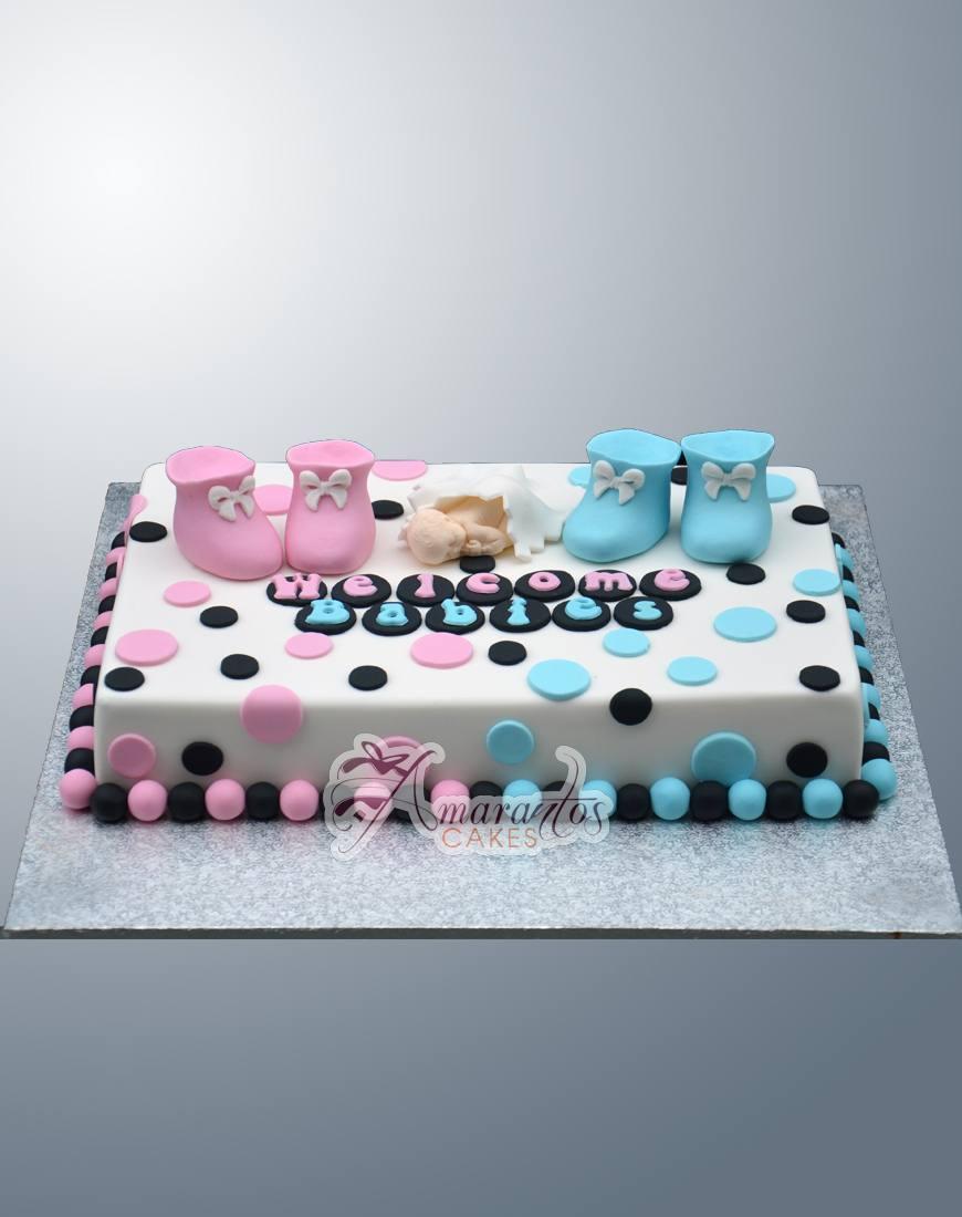 Twins Baby Shower Cake - Amarantos Designer Cakes Melbourne