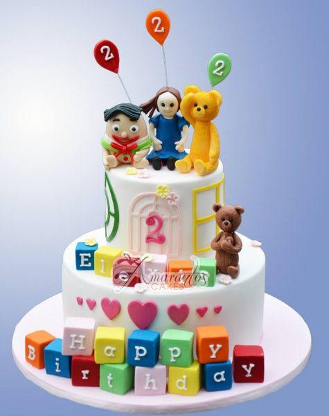 Two Tier Playschool Cake AC404- Amarantos Custom Made Cakes Melbourne