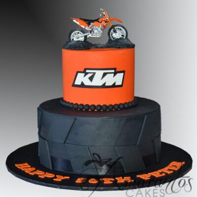 Two tier KTM Motorbike Cake - AC414