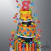 AC418 Three tier colourful cake