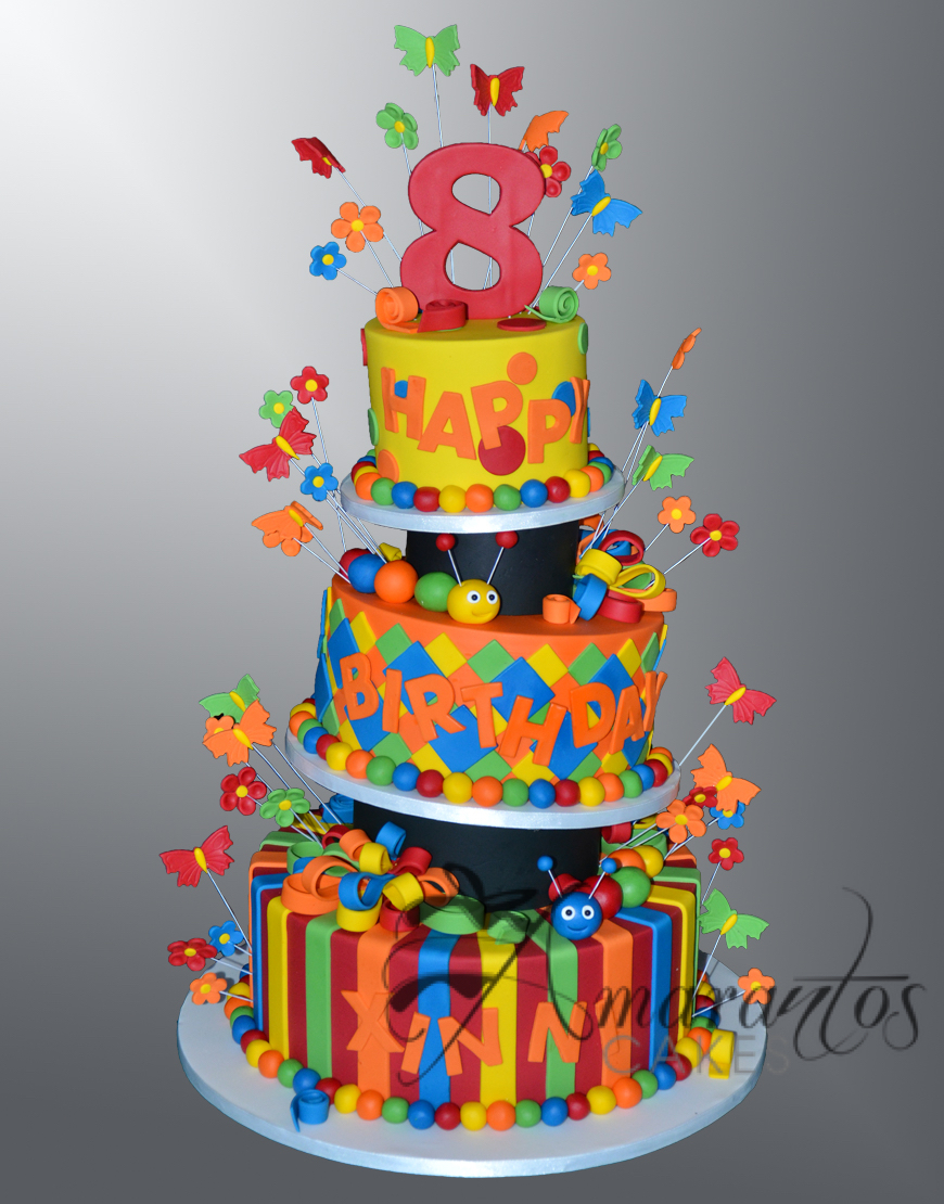 AC418 Three tier colourful cake