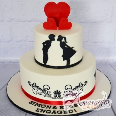 Two Tier Engagement Cake - Amarantos Designer Cakes Melbourne