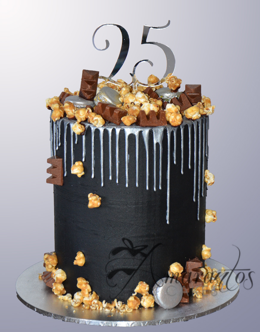 Black and Gold Birthday Cake AC450