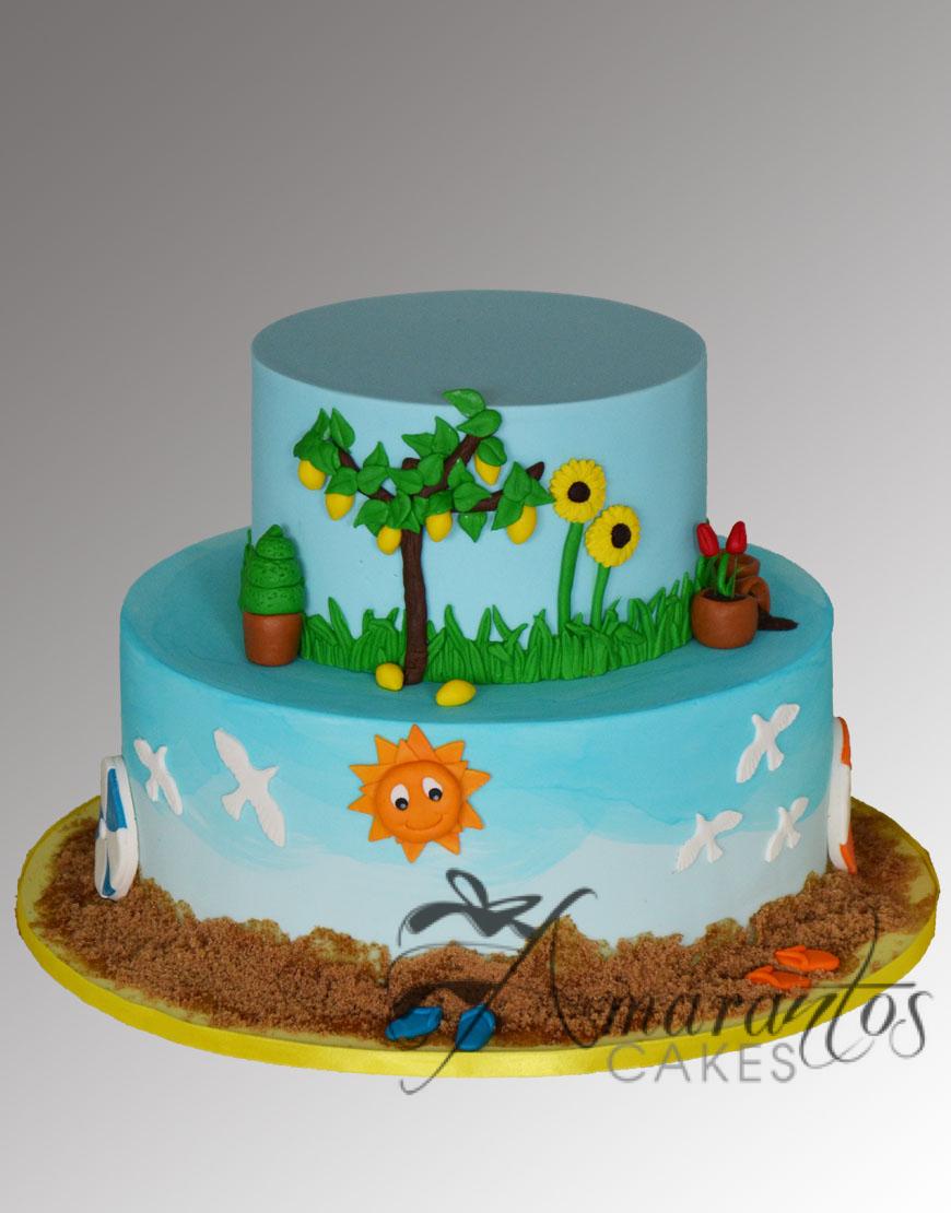 Garden/Sea themed cake AC469