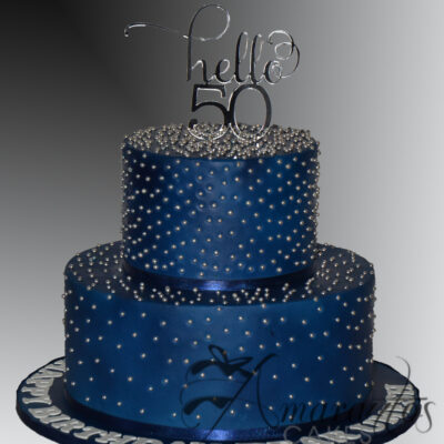 Two tier Navy and Silver Cake - AC524