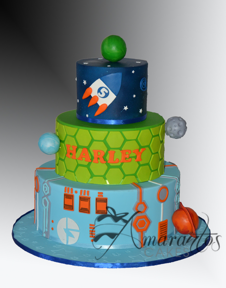AC527 Three tier Miles from Tomorrowland Cake