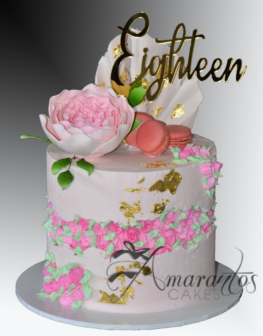 Two tier Fault Line Rosette Cake - AC529