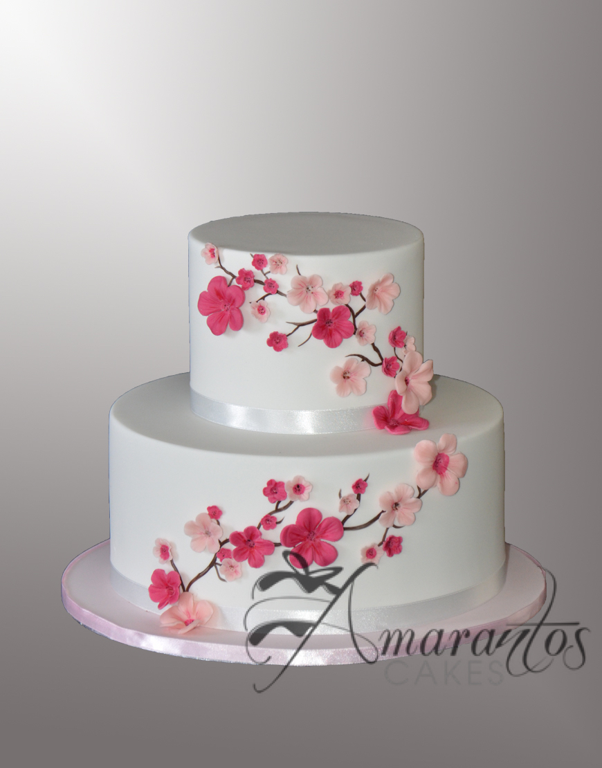 AC543 Two tier cherry blossom Cake