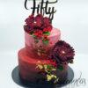 AC71 two tier burgundy gold buttercream WM Amarantos Cakes