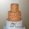 AC79 3 tier gold confetti WM Amarantos Cakes