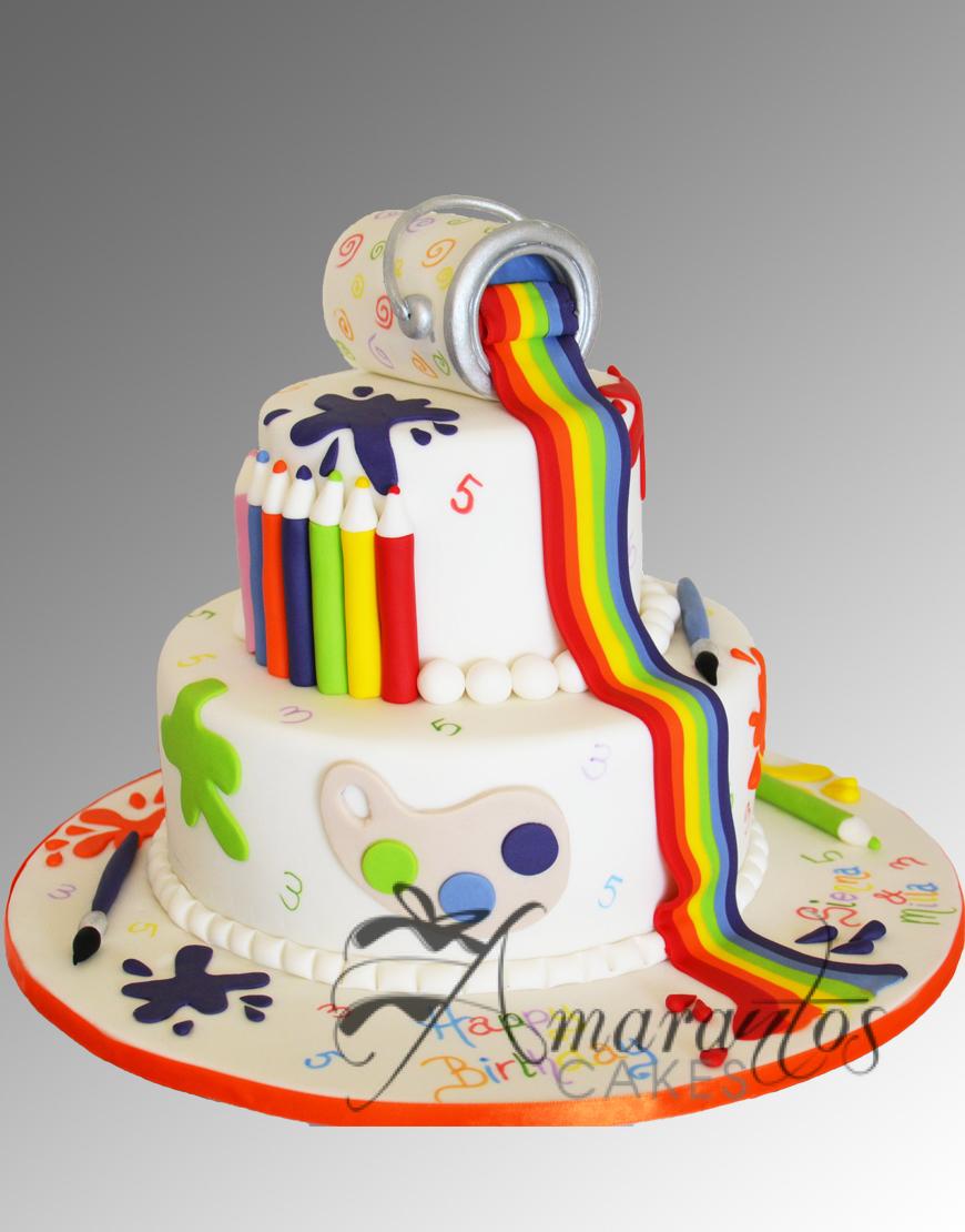 Two Tier Artist Cake Ac89 Amarantos Cakes
