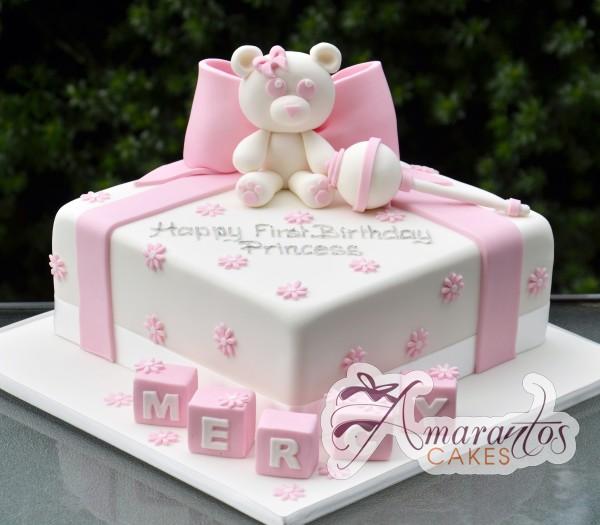 Teddy Bear Baptism Cake - Amarantos Designer Cakes Melbourne
