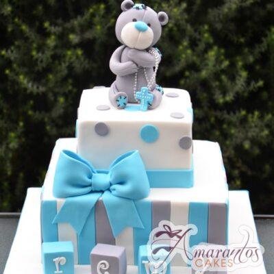 Teddy Bear Christening Cake - Amarantos Designer Cakes Melbourne