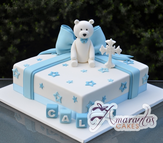 Baby Boy Birthday Cake with Teddy Bear - Amarantos Cakes Melbourne