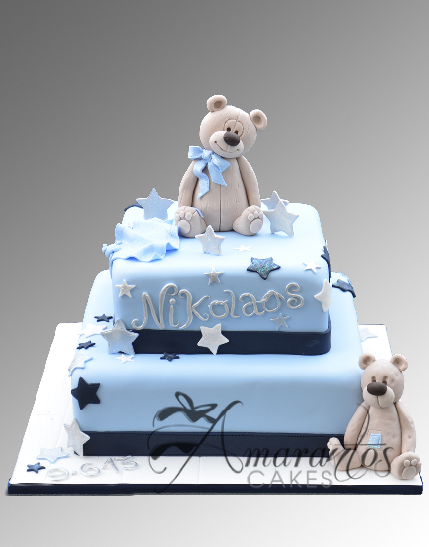 Two tier Christening cake with teddies - CC17 Amarantos Cakes